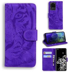 Intricate Embossing Tiger Face Leather Wallet Case for Samsung Galaxy S20 Ultra / S11 Plus - Purple