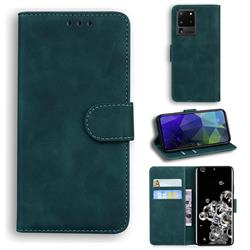 Retro Classic Skin Feel Leather Wallet Phone Case for Samsung Galaxy S20 Ultra / S11 Plus - Green