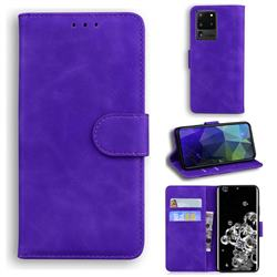 Retro Classic Skin Feel Leather Wallet Phone Case for Samsung Galaxy S20 Ultra / S11 Plus - Purple
