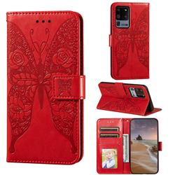 Intricate Embossing Rose Flower Butterfly Leather Wallet Case for Samsung Galaxy S20 Ultra - Red