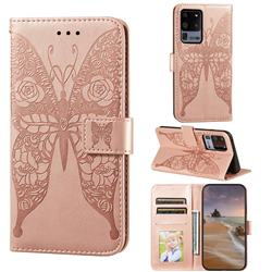 Intricate Embossing Rose Flower Butterfly Leather Wallet Case for Samsung Galaxy S20 Ultra - Rose Gold