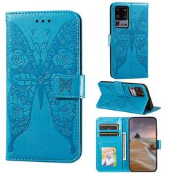Intricate Embossing Rose Flower Butterfly Leather Wallet Case for Samsung Galaxy S20 Ultra - Blue