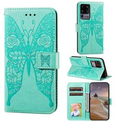 Intricate Embossing Rose Flower Butterfly Leather Wallet Case for Samsung Galaxy S20 Ultra - Green