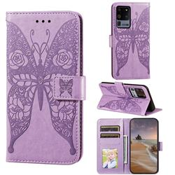 Intricate Embossing Rose Flower Butterfly Leather Wallet Case for Samsung Galaxy S20 Ultra - Purple