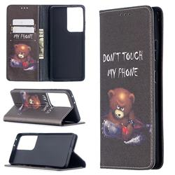 Chainsaw Bear Slim Magnetic Attraction Wallet Flip Cover for Samsung Galaxy S20 Ultra