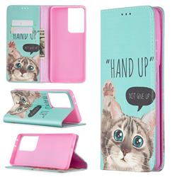 Hand Up Cat Slim Magnetic Attraction Wallet Flip Cover for Samsung Galaxy S20 Ultra