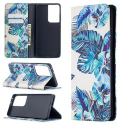 Blue Leaf Slim Magnetic Attraction Wallet Flip Cover for Samsung Galaxy S20 Ultra