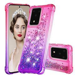Rainbow Gradient Liquid Glitter Quicksand Sequins Phone Case for Samsung Galaxy S20 Ultra - Pink Purple