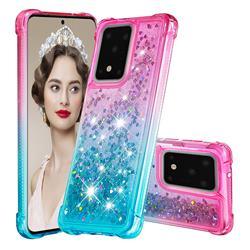 Rainbow Gradient Liquid Glitter Quicksand Sequins Phone Case for Samsung Galaxy S20 Ultra - Pink Blue
