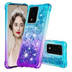 Rainbow Gradient Liquid Glitter Quicksand Sequins Phone Case for Samsung Galaxy S20 Ultra - Blue Purple