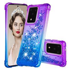 Rainbow Gradient Liquid Glitter Quicksand Sequins Phone Case for Samsung Galaxy S20 Ultra - Purple Blue
