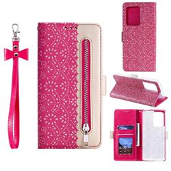Luxury Lace Zipper Stitching Leather Phone Wallet Case for Samsung Galaxy S20 Ultra - Rose