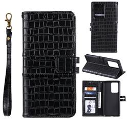 Luxury Crocodile Magnetic Leather Wallet Phone Case for Samsung Galaxy S20 Ultra - Black