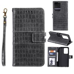 Luxury Crocodile Magnetic Leather Wallet Phone Case for Samsung Galaxy S20 Ultra - Gray