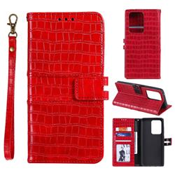 Luxury Crocodile Magnetic Leather Wallet Phone Case for Samsung Galaxy S20 Ultra - Red