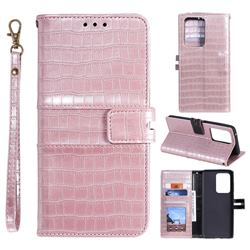 Luxury Crocodile Magnetic Leather Wallet Phone Case for Samsung Galaxy S20 Ultra - Rose Gold