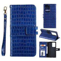Luxury Crocodile Magnetic Leather Wallet Phone Case for Samsung Galaxy S20 Ultra - Blue