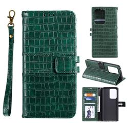 Luxury Crocodile Magnetic Leather Wallet Phone Case for Samsung Galaxy S20 Ultra - Green