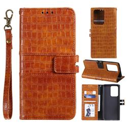 Luxury Crocodile Magnetic Leather Wallet Phone Case for Samsung Galaxy S20 Ultra - Brown