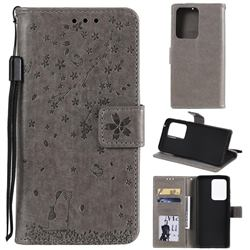 Embossing Cherry Blossom Cat Leather Wallet Case for Samsung Galaxy S20 Ultra - Gray