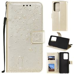Embossing Cherry Blossom Cat Leather Wallet Case for Samsung Galaxy S20 Ultra - Golden
