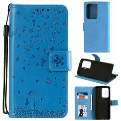 Embossing Cherry Blossom Cat Leather Wallet Case for Samsung Galaxy S20 Ultra - Blue
