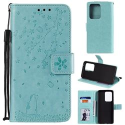 Embossing Cherry Blossom Cat Leather Wallet Case for Samsung Galaxy S20 Ultra - Green