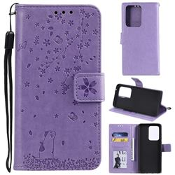 Embossing Cherry Blossom Cat Leather Wallet Case for Samsung Galaxy S20 Ultra - Purple