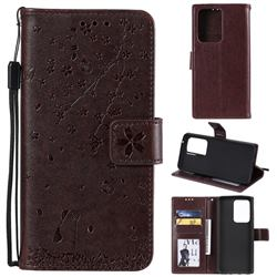 Embossing Cherry Blossom Cat Leather Wallet Case for Samsung Galaxy S20 Ultra - Brown