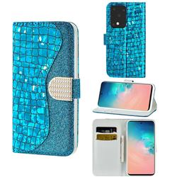 Glitter Diamond Buckle Laser Stitching Leather Wallet Phone Case for Samsung Galaxy S20 Ultra - Blue