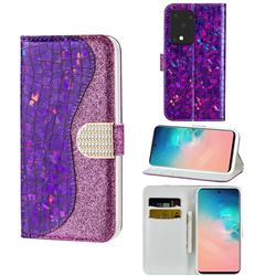 Glitter Diamond Buckle Laser Stitching Leather Wallet Phone Case for Samsung Galaxy S20 Ultra - Purple