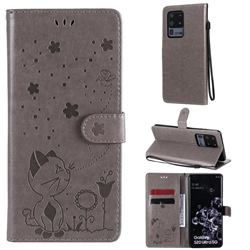 Embossing Bee and Cat Leather Wallet Case for Samsung Galaxy S20 Ultra - Gray