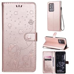 Embossing Bee and Cat Leather Wallet Case for Samsung Galaxy S20 Ultra - Rose Gold