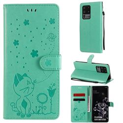 Embossing Bee and Cat Leather Wallet Case for Samsung Galaxy S20 Ultra - Green