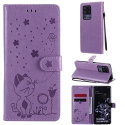 Embossing Bee and Cat Leather Wallet Case for Samsung Galaxy S20 Ultra - Purple