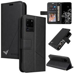 GQ.UTROBE Right Angle Silver Pendant Leather Wallet Phone Case for Samsung Galaxy S20 Ultra - Black