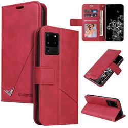 GQ.UTROBE Right Angle Silver Pendant Leather Wallet Phone Case for Samsung Galaxy S20 Ultra - Red