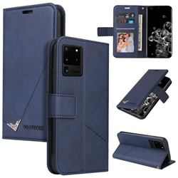 GQ.UTROBE Right Angle Silver Pendant Leather Wallet Phone Case for Samsung Galaxy S20 Ultra - Blue