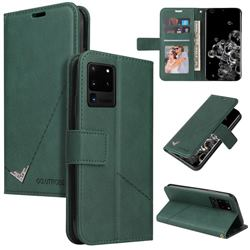 GQ.UTROBE Right Angle Silver Pendant Leather Wallet Phone Case for Samsung Galaxy S20 Ultra - Green