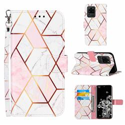 Pink White Stitching Color Marble Leather Wallet Case for Samsung Galaxy S20 Ultra