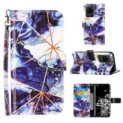 Starry Blue Stitching Color Marble Leather Wallet Case for Samsung Galaxy S20 Ultra