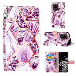 Dream Purple Stitching Color Marble Leather Wallet Case for Samsung Galaxy S20 Ultra