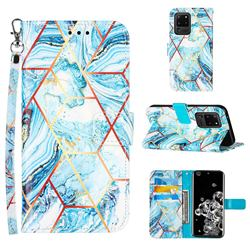 Lake Blue Stitching Color Marble Leather Wallet Case for Samsung Galaxy S20 Ultra