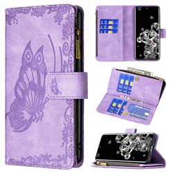 Binfen Color Imprint Vivid Butterfly Buckle Zipper Multi-function Leather Phone Wallet for Samsung Galaxy S20 Ultra - Purple