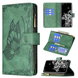 Binfen Color Imprint Vivid Butterfly Buckle Zipper Multi-function Leather Phone Wallet for Samsung Galaxy S20 Ultra - Green