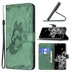 Binfen Color Imprint Vivid Butterfly Leather Wallet Case for Samsung Galaxy S20 Ultra - Green