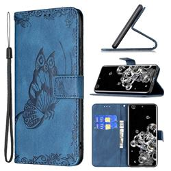 Binfen Color Imprint Vivid Butterfly Leather Wallet Case for Samsung Galaxy S20 Ultra - Blue