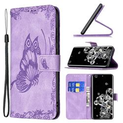 Binfen Color Imprint Vivid Butterfly Leather Wallet Case for Samsung Galaxy S20 Ultra - Purple