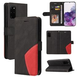 Luxury Two-color Stitching Leather Wallet Case Cover for Samsung Galaxy S20 Ultra - Black