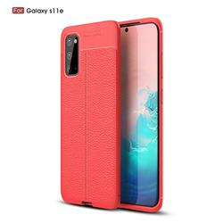 Luxury Auto Focus Litchi Texture Silicone TPU Back Cover for Samsung Galaxy S20 / S11e - Red